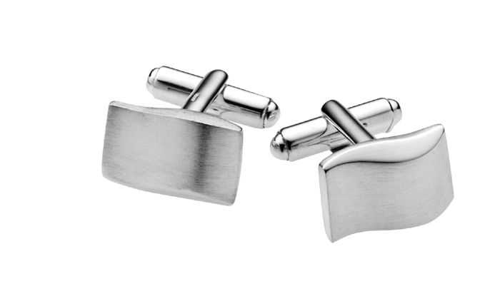 Sterling Silver Two Tone Wave Design Cufflinks
