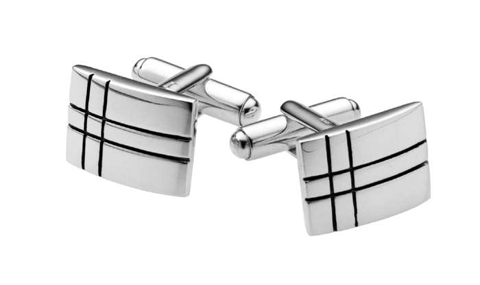 Sterling Silver Bright Oxidised Flag Lined Cufflinks