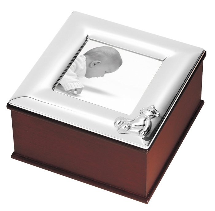 Sterling Silver Babys Bear Photo Frame Keepsake Box