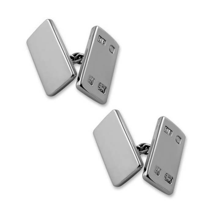 Sterling Silver Feature Hallmark Rectangle Chain Cufflinks