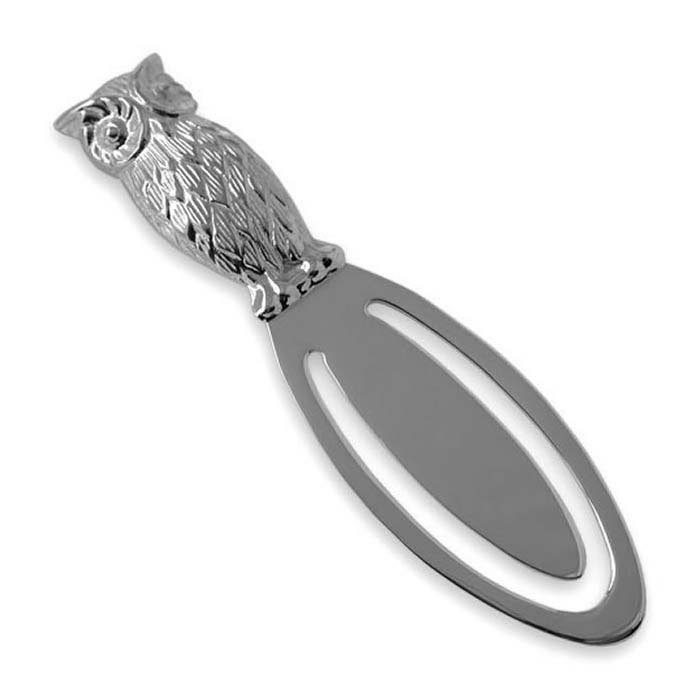 Plated Sterling Silver Owl Bookmark