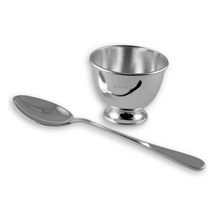 Sterling Silver Simple Egg Cup And Spoon Set