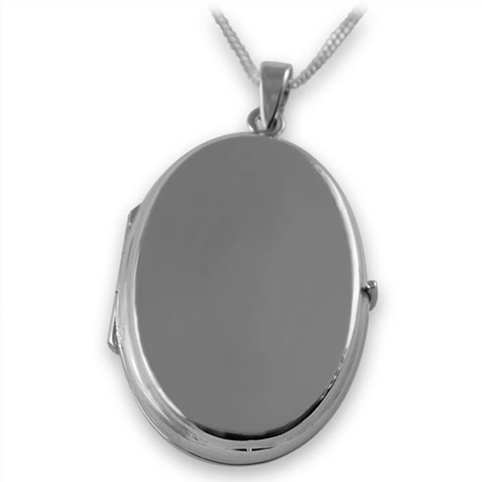 Sterling Silver Plain Oval Locket Style Necklace