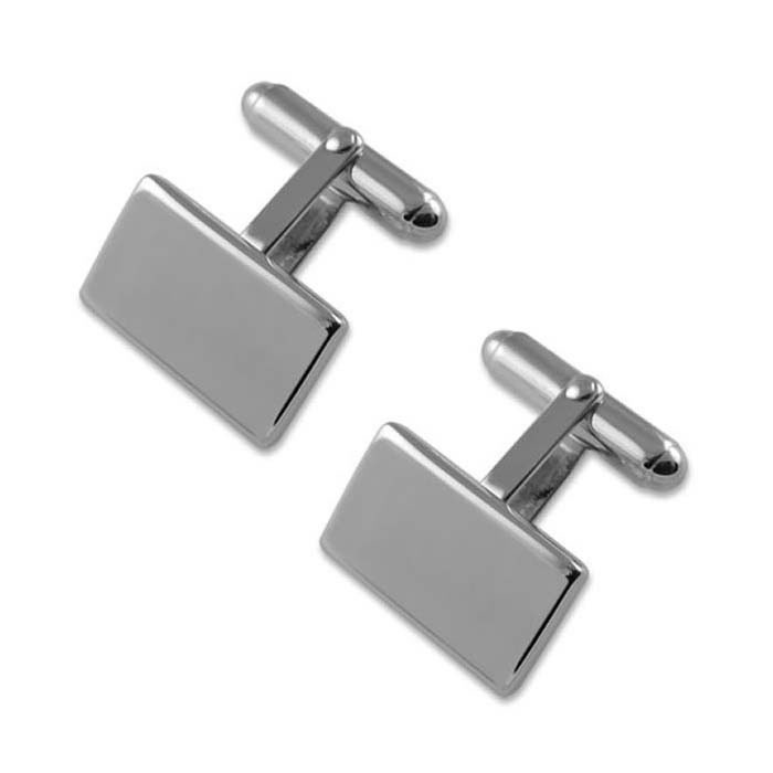 Plated Sterling Silver Plain Oblong T-Bar Cufflinks