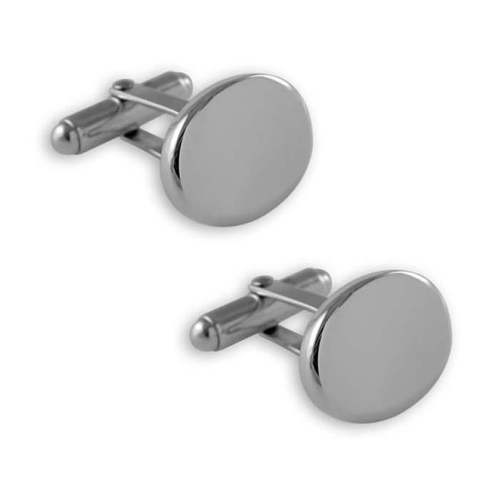 Plated Sterling Silver Plain Oval T-Bar Cufflinks
