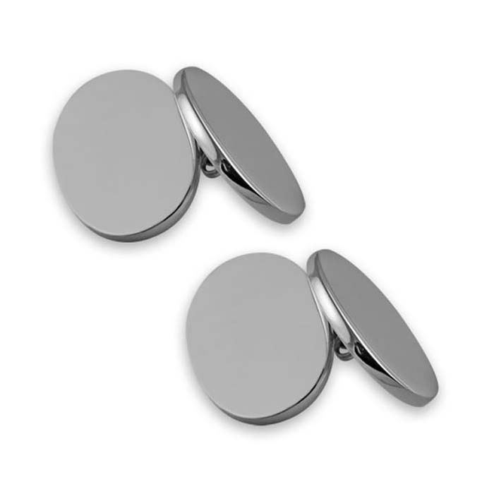 Sterling Silver Simple Double Oval Chain Link Cufflinks