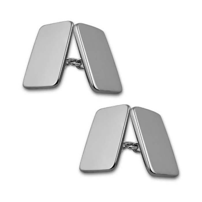 Sterling Silver Plain Rectangular Shaped Chain Cufflinks