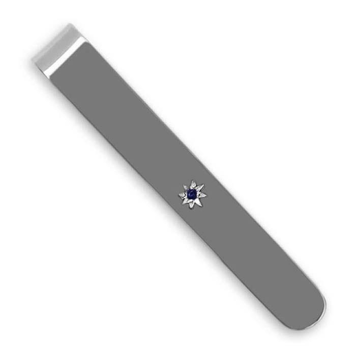Sterling Silver Sapphire Oval Tie Slide