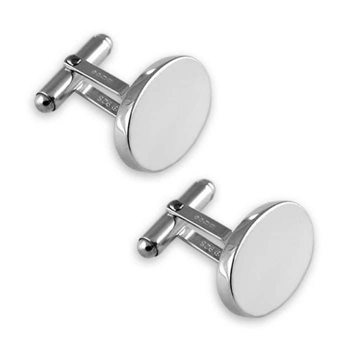 Sterling Silver Plain Oval T-Bar Cufflinks