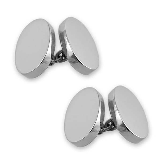 Sterling Silver Plain Double Oval Chain Link Cufflinks
