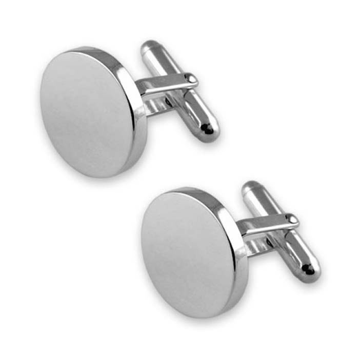 Sterling Silver Plain Round T-Bar Cufflinks