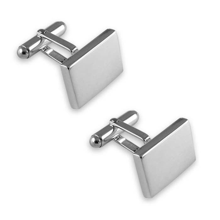 Sterling Silver Plain Oblong T-Bar Cufflinks