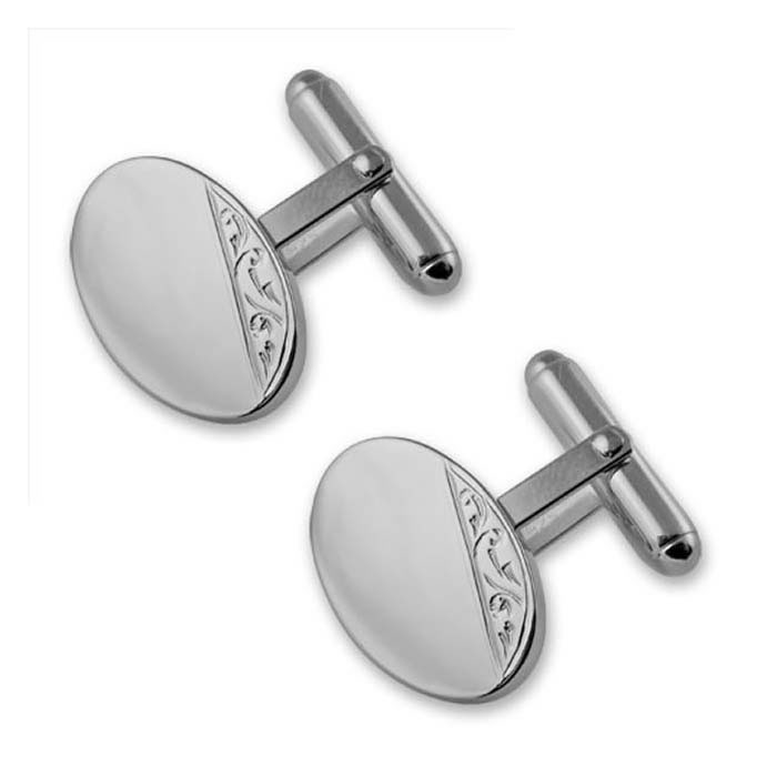 Sterling Silver Hand Engraved Oval Cufflinks