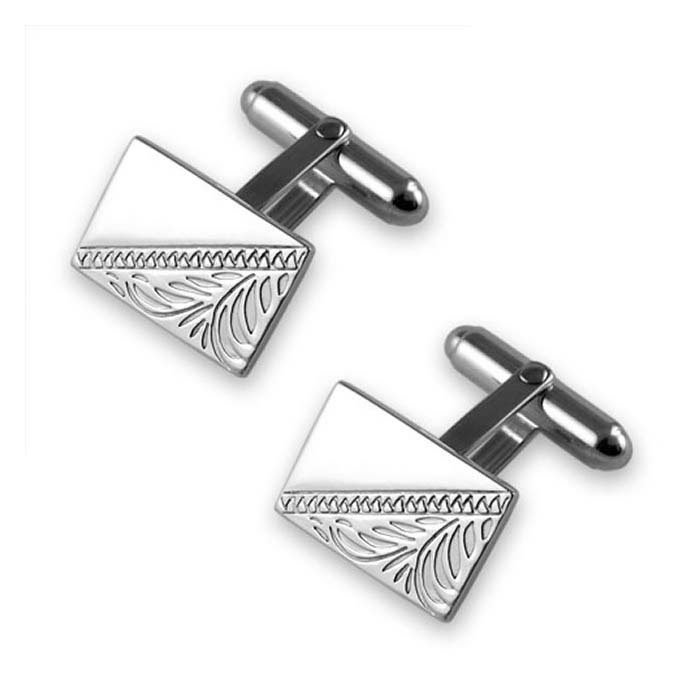 Plated Sterling Silver Diagonal Hand Engraved Cufflinks