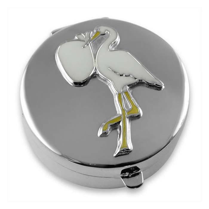 Sterling Silver Enamel Stork Shaped Box