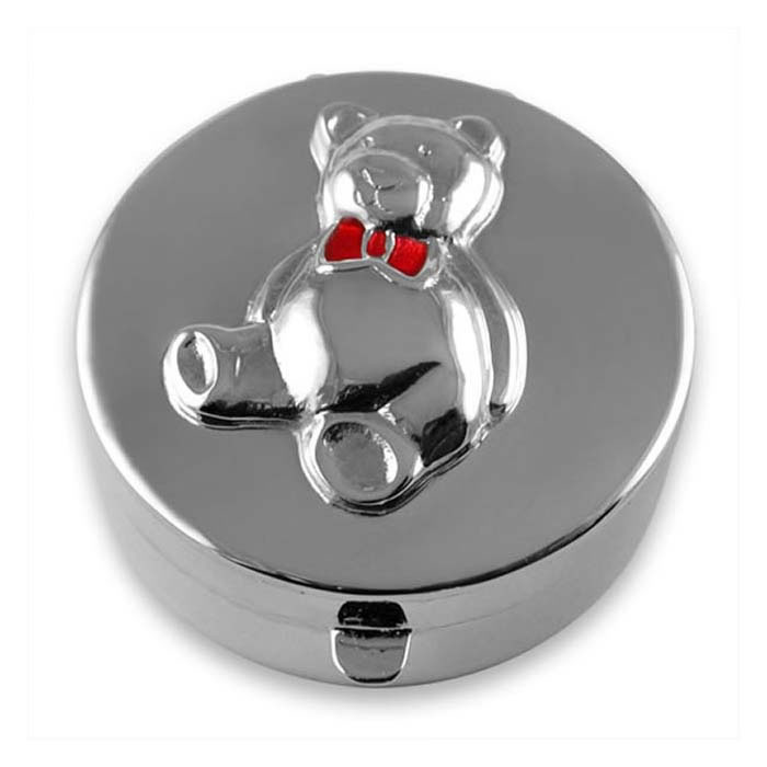 Silver Teddy Bear Keepsake Box