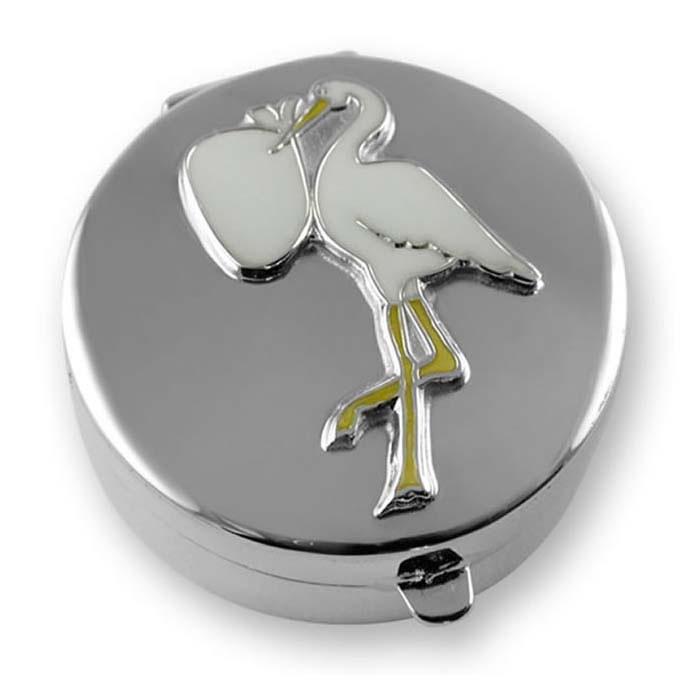 Sterling Silver Enamel Stork Keepsake Box