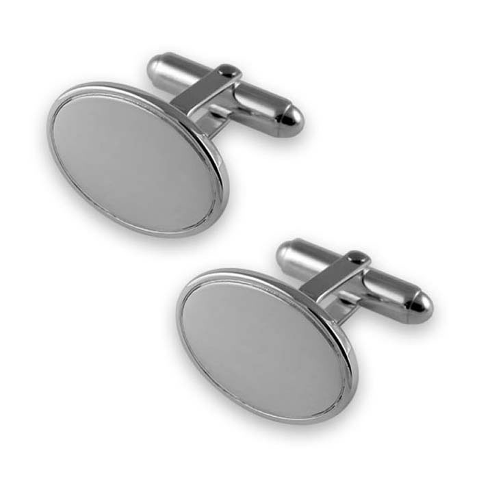 Sterling Silver Oval With Line T-Bar Cufflinks