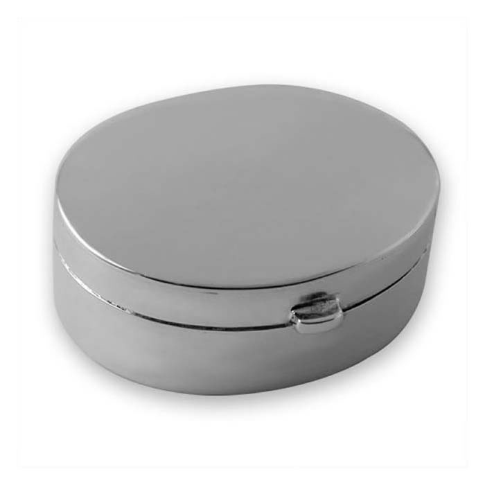 Sterling Silver Plain Oval Shaped Pill Box
