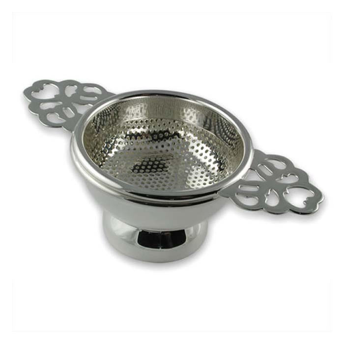 Plated Sterling Silver Doubled Handled Tea Strainer