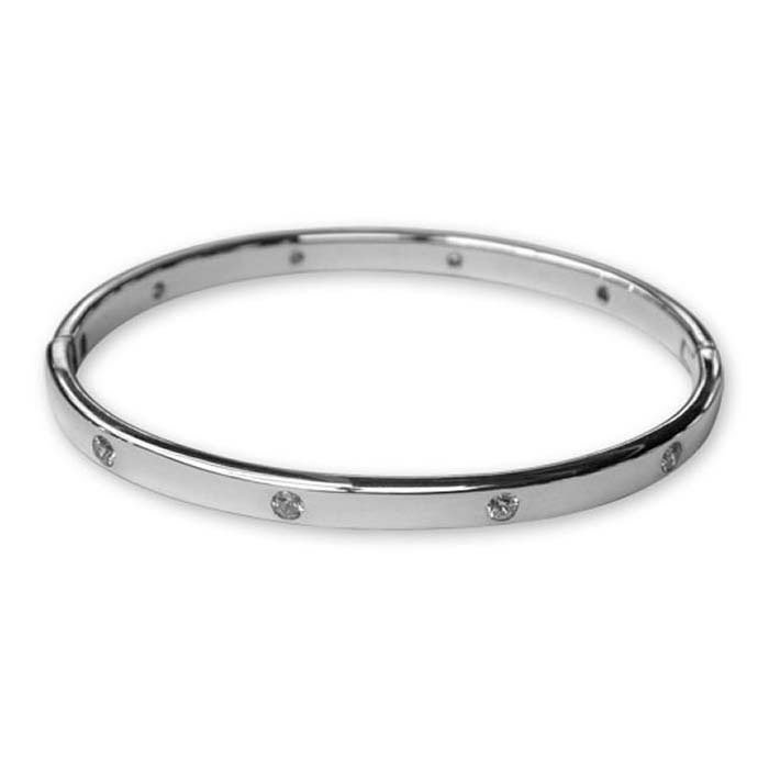 Plated Sterling Silver Cz Oval Bangle