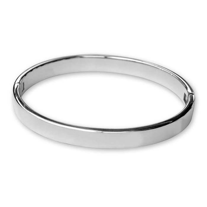 Plated Sterling Silver Plain Heavy Bangle