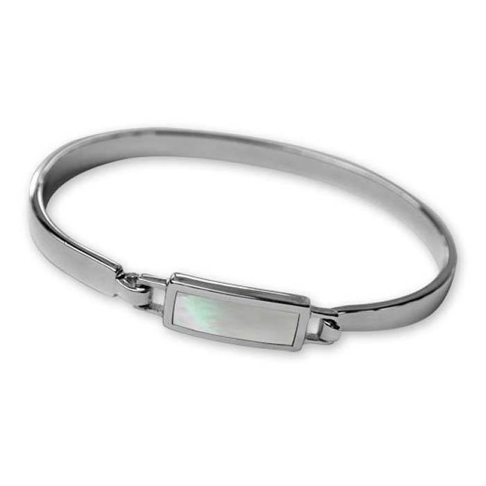 Plated Sterling Silver Mother Of Pearl Inset Bangle