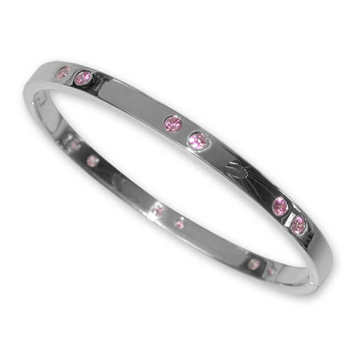 Plated Sterling Silver Pink Cz Bangle