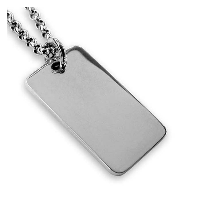 Mens personalised engraved neckwear chains necklaces pendants sterling silver plain square dog tag pendant mozeypictures Images