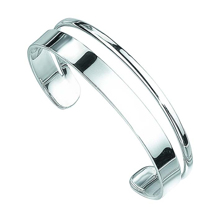 Sterling Silver D Shape And Flat Torque Bangle