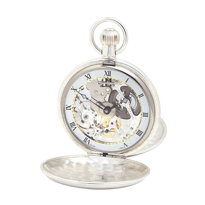 Sterling Silver Swiss Skeleton Unitas Style Movement Pocket Watch