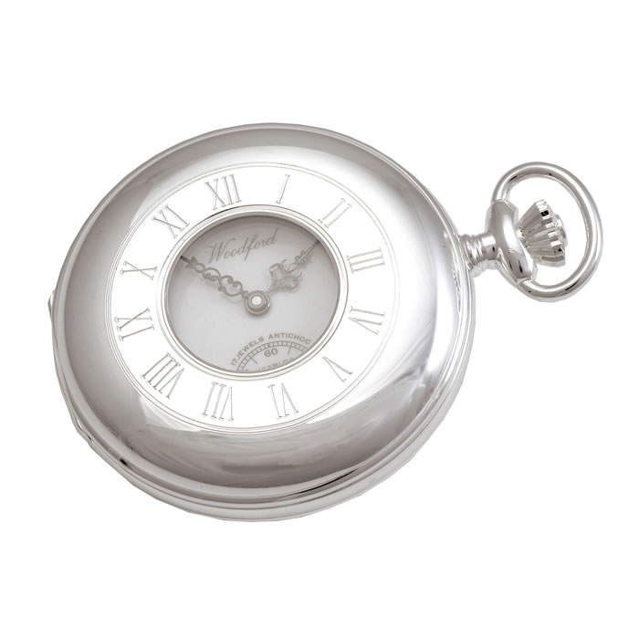 Sterling Silver Patterned Swiss Unitas Movement Pocket Watch