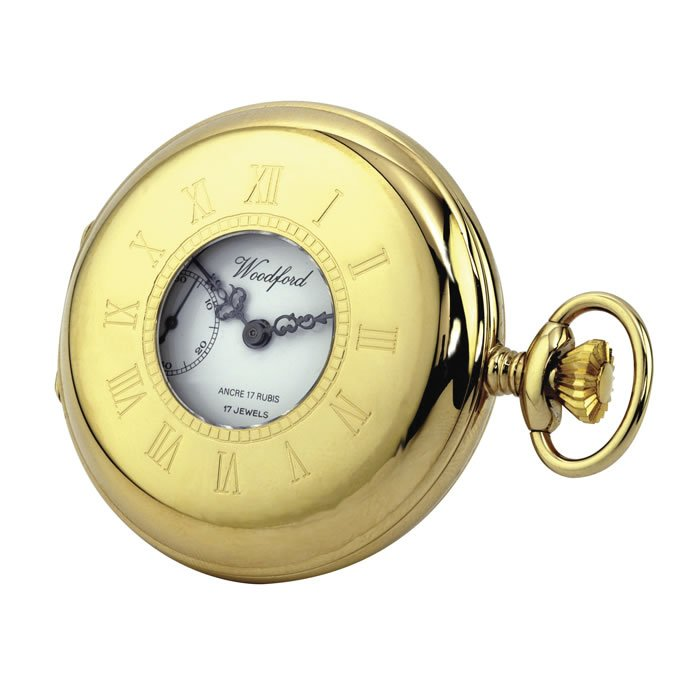 Gold Plated Spring Wound French Pocket Watch With Chain