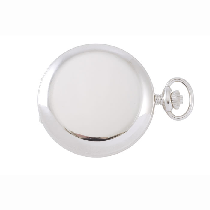 Simple Chrome French Spring Wound Pocket Watch With Chain
