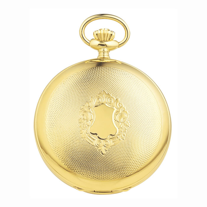 Gold Plated Swiss Skeleton Unitas Movement Pocket Watch With Chain