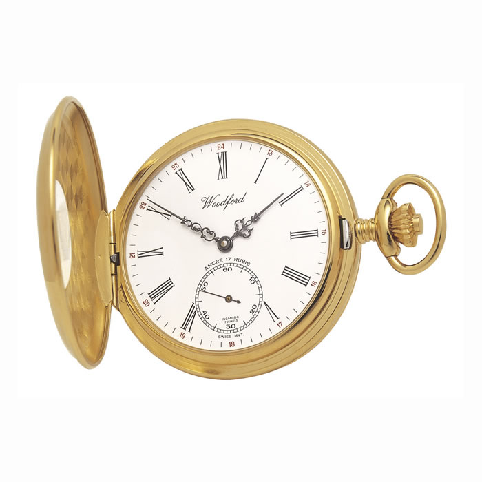 Gold Plated Swiss Unitas Movement Pocket Watch And Chain