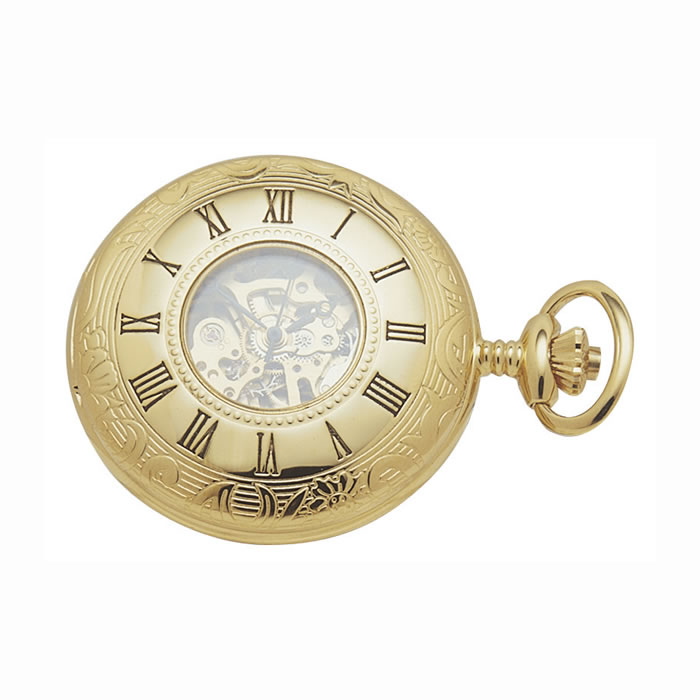 Gold Plated Spring Wound Pocket Watch And Chain