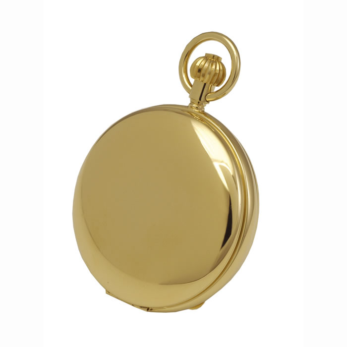 Simple Gold Plated French Spring Wound Skeleton Pocket Watch With Chain