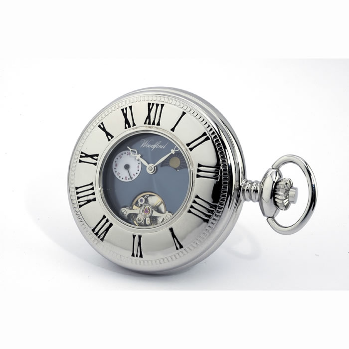 Patterned Chrome Spring Wound Pocket Watch With Chain