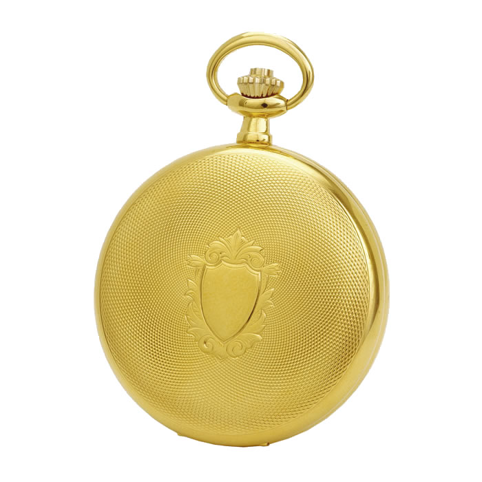 Gold Plated Spring Wound Dotted Pocket Watch With Chain