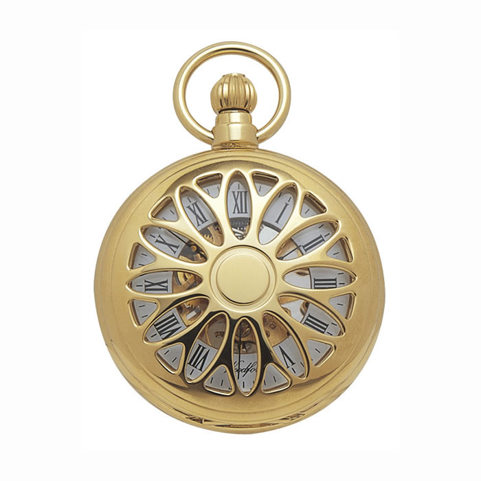 Gold Plated Spring Wound Floral Caged Pocket Watch With Chain