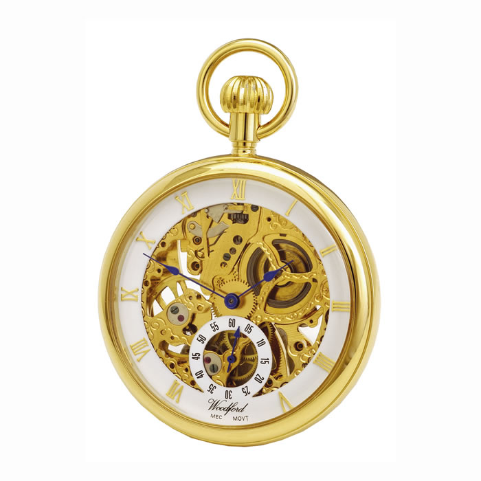 Gold Plated Spring Wound Skeleton Pocket Watch With Chain
