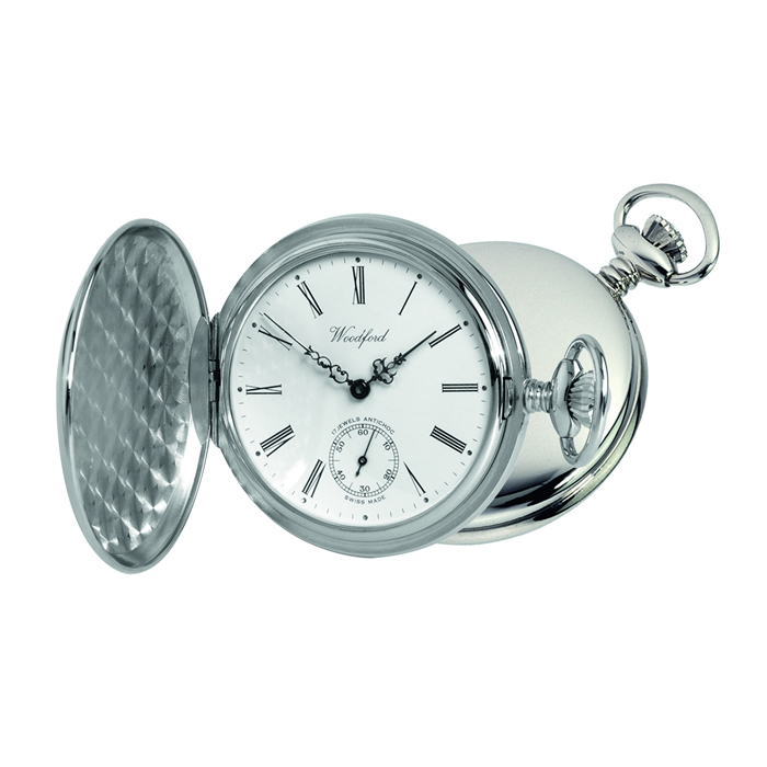 Chrome Full Hunter Swiss Mechanical Movement Pocket Watch