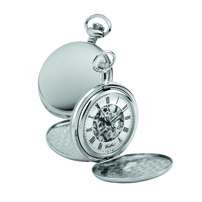 Chrome Hunter Mechanical Skeleton Pocket Watch