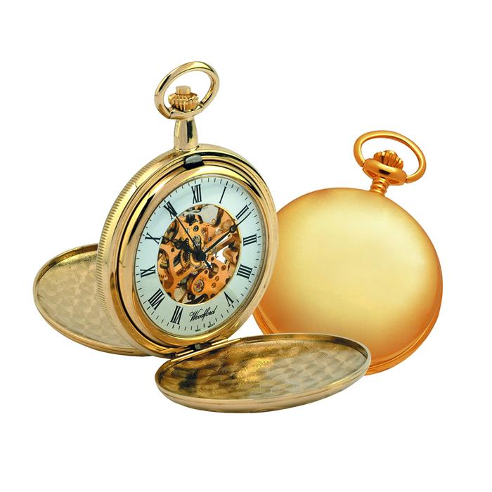 Chrome Gold Look Full Hunter Mechanical Skeleton Pocket Watch