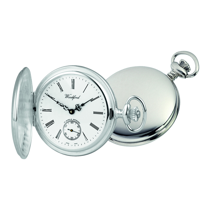 Sterling Silver Simple Swiss Unitas Movement Pocket Watch With Albert Chain