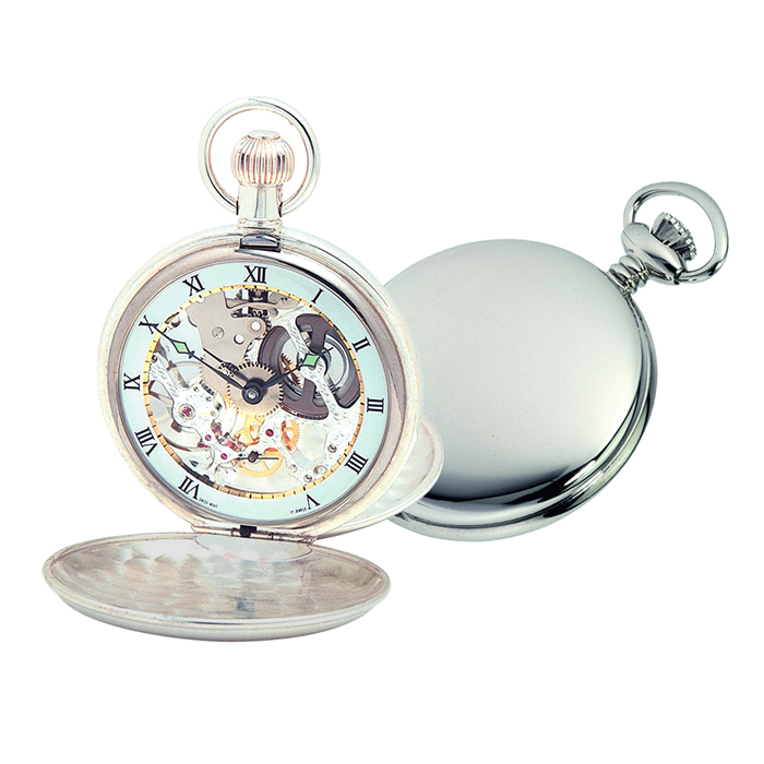 Sterling Silver Simple Swiss Skeleton Unitas Movement Pocket Watch With Albert Chain