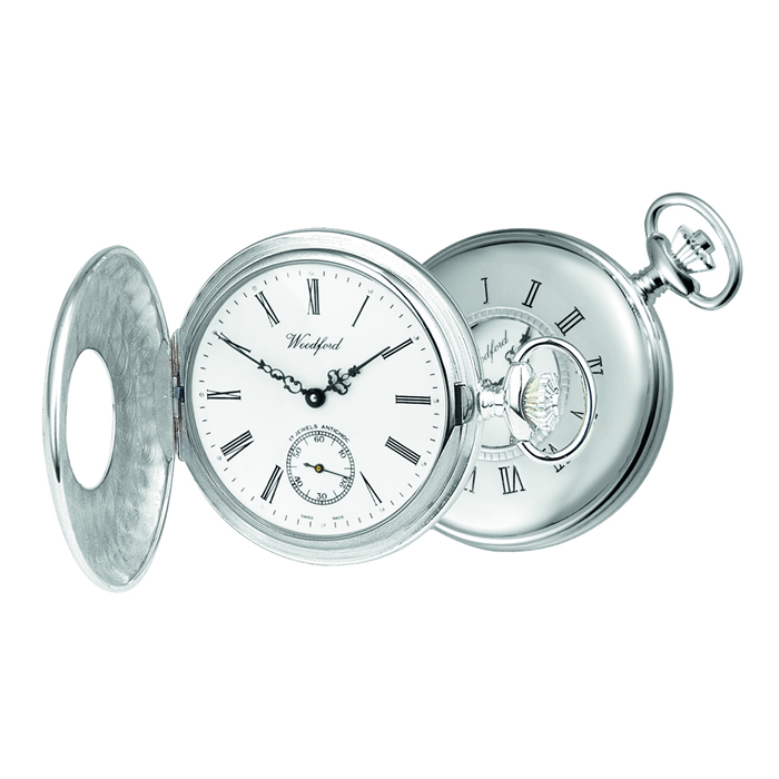Sterling Silver Patterned Swiss Unitas Movement Pocket Watch With Albert Chain
