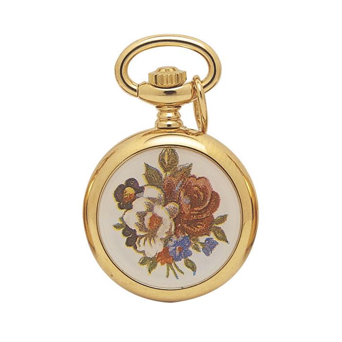 Floral Gold Plated Quartz Pendant Watch