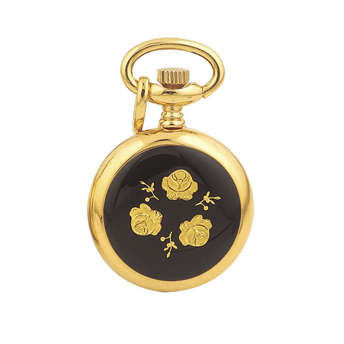 Gold Plated Quartz Black Floral Pendant Watch